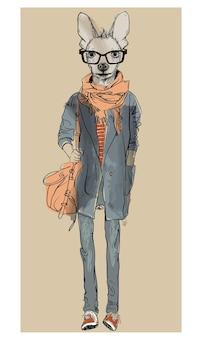 Chien hipster de mode mignon avec un casque. illustration vectorielle