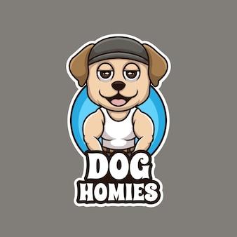 Chien homies dessin animé gangster dessin animé créatif logo illustration mascotte conception