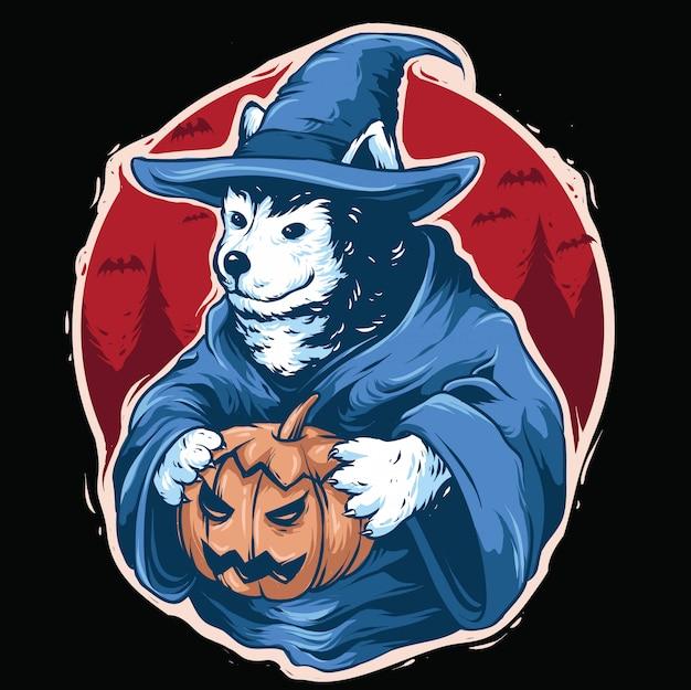 Chien husky avec la conception de la tenue d'halloween