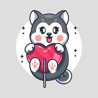 Chien husky mignon avec dessin animé coeur de bonbons