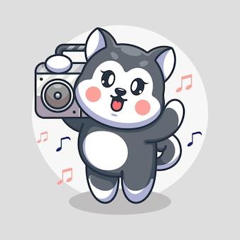 Chien husky mignon écoutant de la musique avec dessin animé boombox