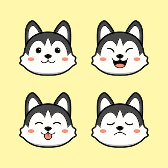 Chien husky mignon avec ensemble d'animaux d'expression de visage