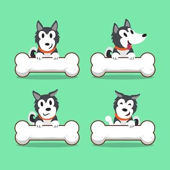 Chien husky sibérien de personnage de dessin animé avec de gros os