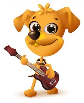 Chien jaune jouant de la guitare
