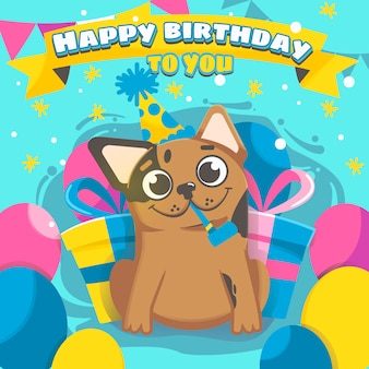 Chien de joyeux anniversaire