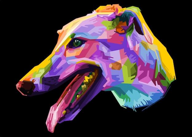 Chien lévrier coloré sur style pop art géométrique