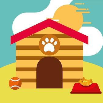 Chien maison plein bol nourriture et balle de jouet
