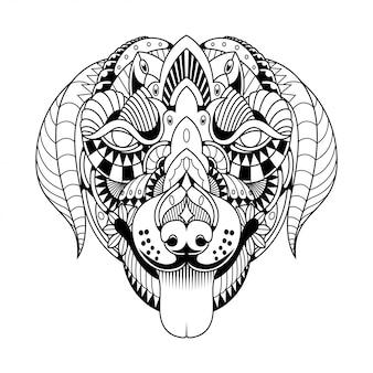 Chien mandala zentangle style linéaire