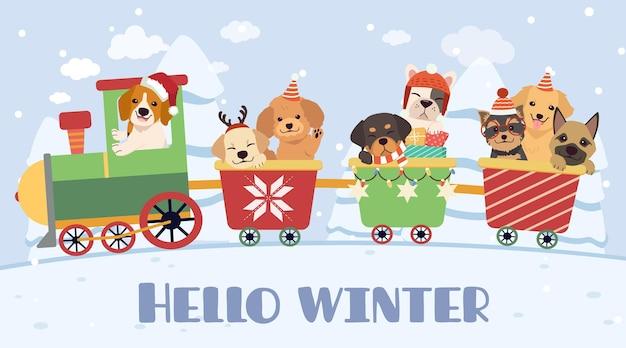Chien mignon et amis conduisant un train, bonjour l'hiver