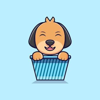 Chien mignon assis dans l'illustration d'icône de dessin animé de boîte. style de bande dessinée plat