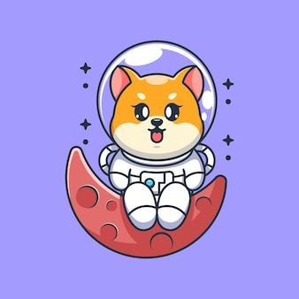 Chien mignon astronaute shiba inu assis sur la lune