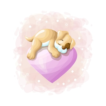 Chien mignon de bande dessinée dormant sur le vecteur d'illustration ballon d'amour
