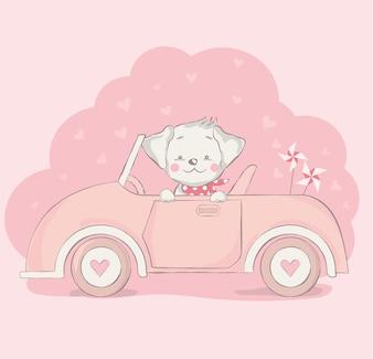 Chien mignon bébé avec dessin animé de voiture