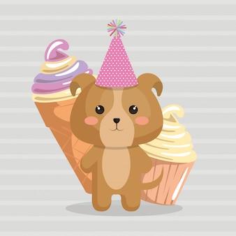 Chien mignon avec carte d'anniversaire kawaii de crème glacée