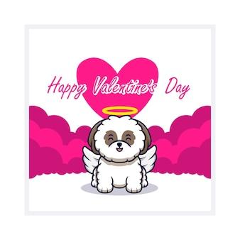 Chien mignon avec carte de voeux happy valentines day, plat.