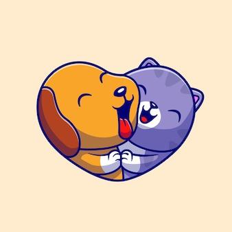 Chien mignon et chat mignon amour cartoon vector icon illustration. concept d'icône de nature animale isolé vecteur premium. style de dessin animé plat