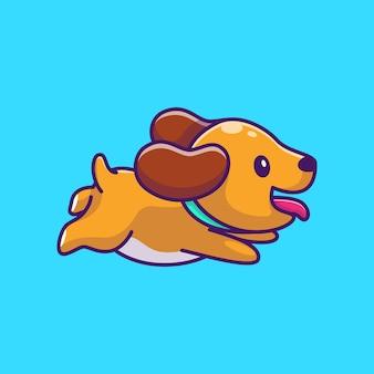 Chien mignon en cours d'exécution icône illustration. personnage de dessin animé de mascotte de chien chiot. concept d'icône animale isolé