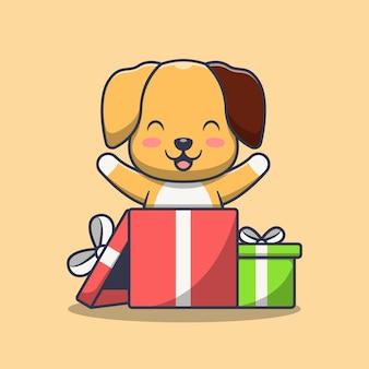 Chien mignon dans une boîte cadeau
