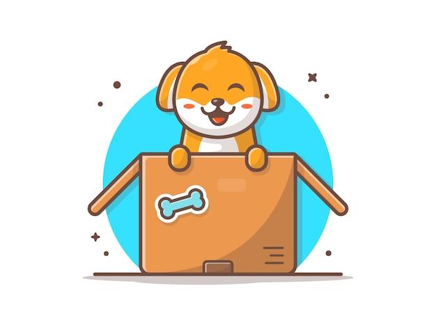 Chien mignon dans une boîte