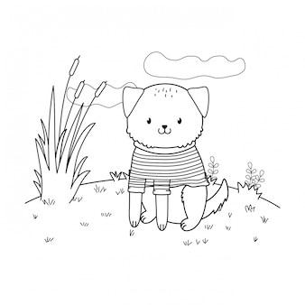 Chien mignon dans le personnage de terrain boisé