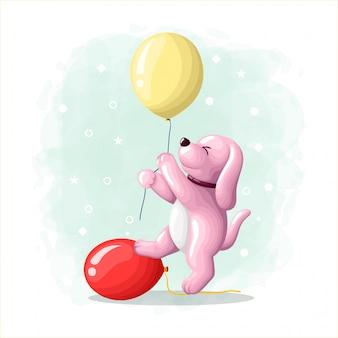 Chien mignon dessin animé avec illustration de ballon