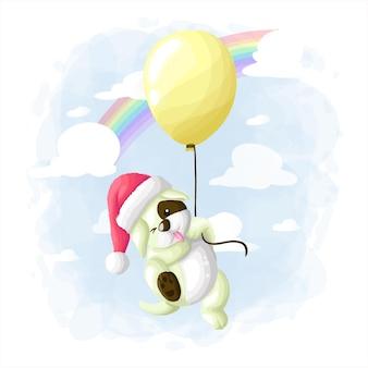 Chien mignon dessin animé voler avec ballon illustration vector