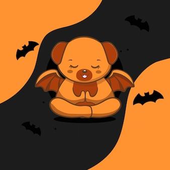 Chien mignon avec halloween vecteur gratuit