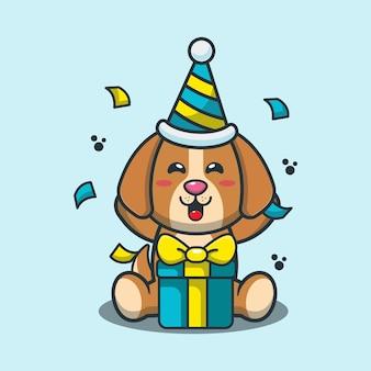 Chien mignon en illustration de dessin animé de fête d'anniversaire