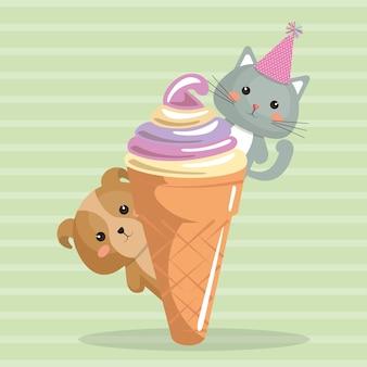 Chien mignon et kat avec carte d'anniversaire de crème glacée kawaii