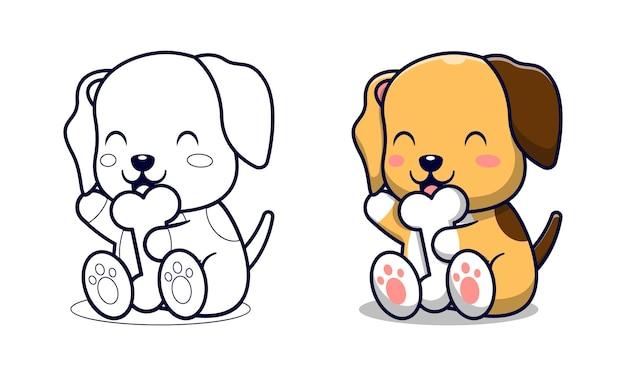Chien mignon avec des os coloriage de dessin animé pour les enfants