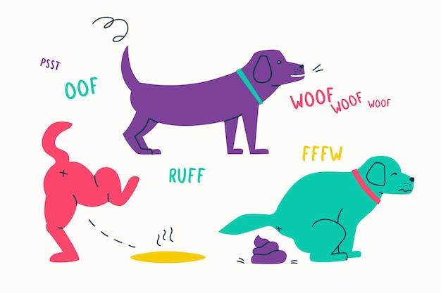 Un chien mignon pisse et fait caca l'animal fait pipi