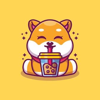 Chien mignon shiba inu buvant du thé au lait boba dessin animé