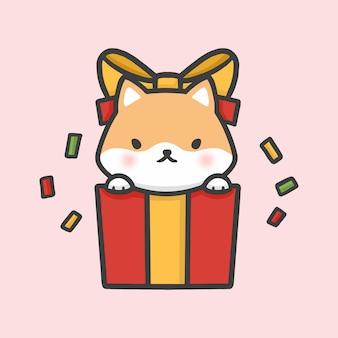 Chien mignon shiba inu dans une boîte cadeau surprise dessiné à la main de noël