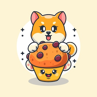 Chien mignon shiba inu avec dessin animé cupcake