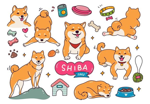 Chien mignon shiba inu en illustration de style doodle