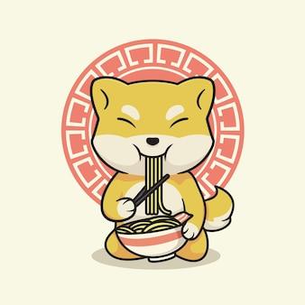 Chien mignon shiba inu mangeant des ramen