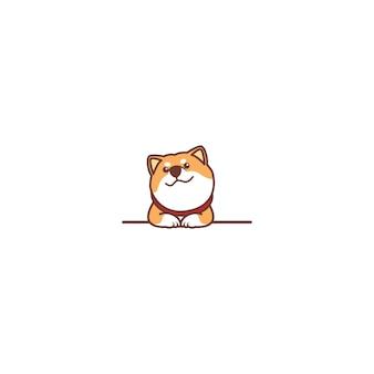 Chien mignon shiba inu souriant sur mur de dessin animé