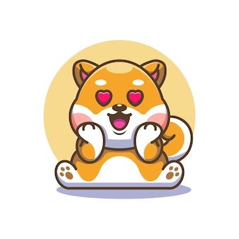 Chien mignon shiba inu tombant amoureux dessin animé