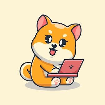 Chien mignon de shiba inu travaillant sur un dessin animé d'ordinateur portable
