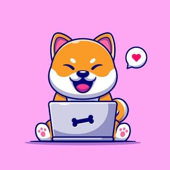 Chien mignon shiba inu travaillant sur l'illustration de dessin animé pour ordinateur portable.