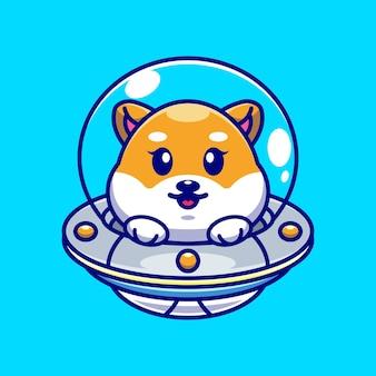 Chien mignon shiba inu volant avec dessin animé ovni de vaisseau spatial