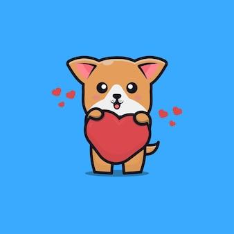Chien mignon tenant illustration d'icône de dessin animé coeur