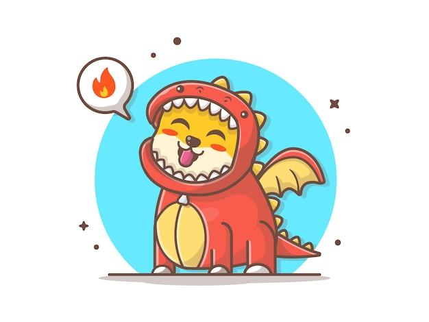 Chien mignon vêtu d'un costume de dragon avec illustration vectorielle de feu