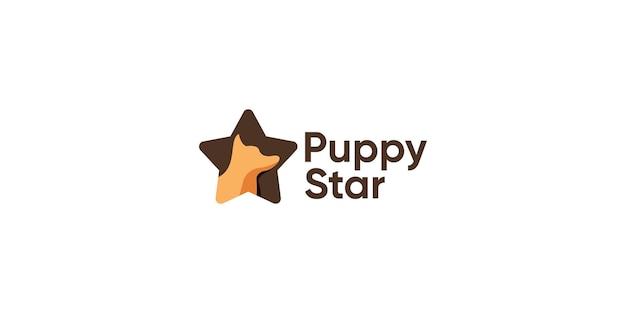 Chien avec modèle de conception de logo chiot star