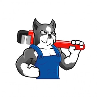 Chien musclé tenant une clé comme plombier ou travailleur, caricature de personnage de chien