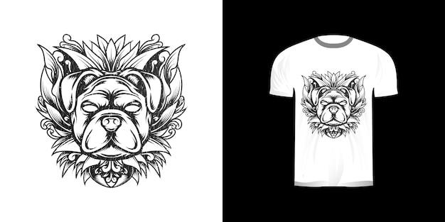 Chien avec ornement de gravure pour la conception de tshirt
