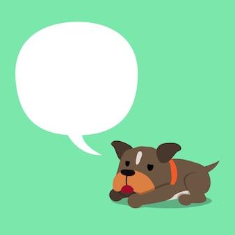 Chien de personnage de dessin animé pit bull terrier avec bulle blanche
