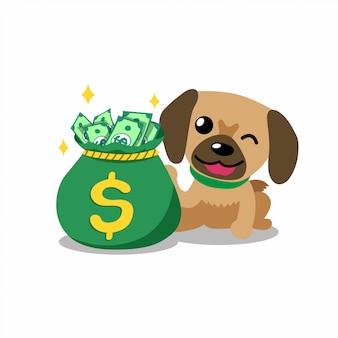Chien de personnage de dessin animé avec sac d'argent