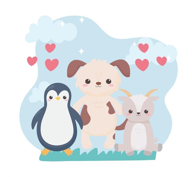 Chien pingouin mignon et coeurs de chèvre animaux de dessin animé