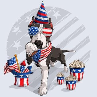 Chien pitbull noir mignon avec des éléments de la fête de l'indépendance américaine 4 juillet et jour commémoratif